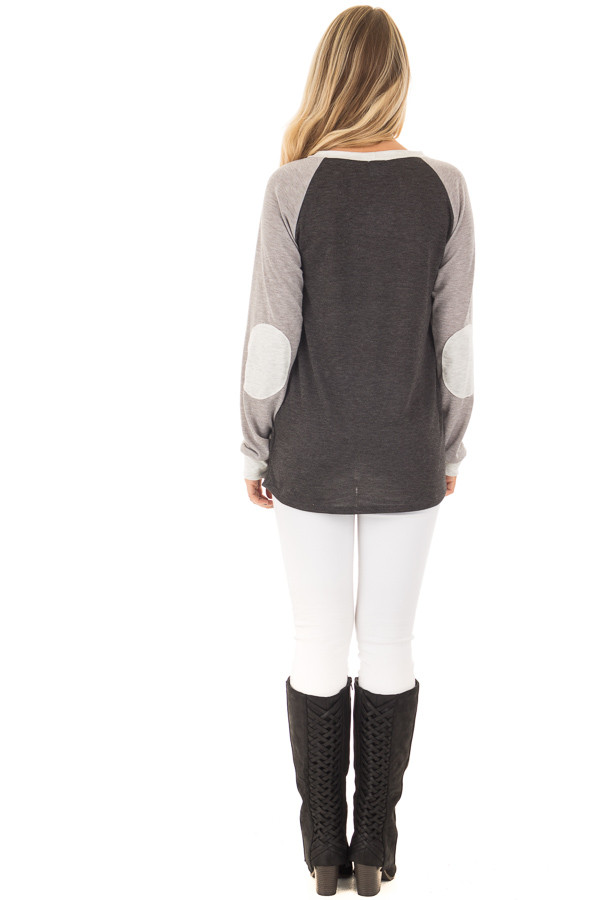 Charcoal and Heather Grey Long Sleeve Top back full body