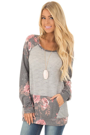 Charcoal and Blush Floral Print and Stripe Long Sleeve Top front close up