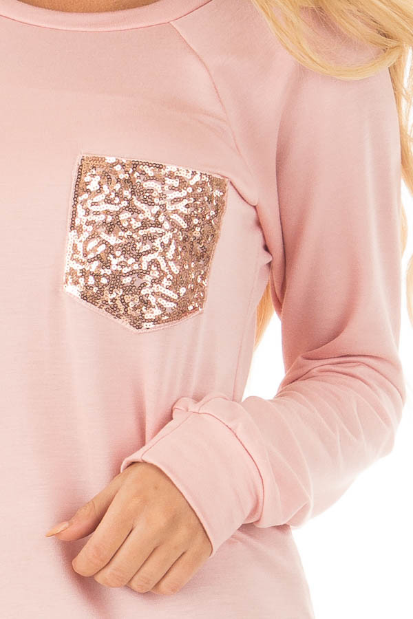Dusty Pink Long Sleeve Top with Sequin Pocket detail