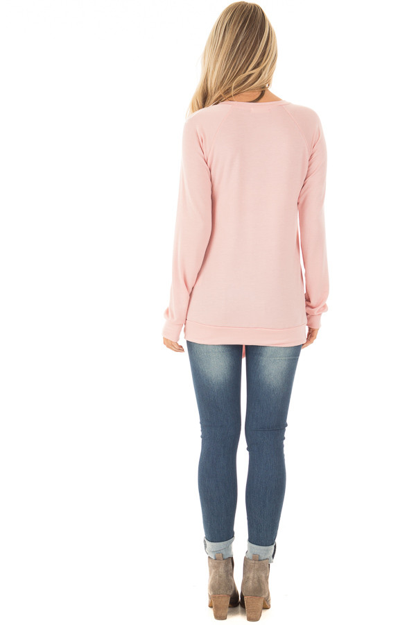 Dusty Pink Long Sleeve Top with Sequin Pocket back full body