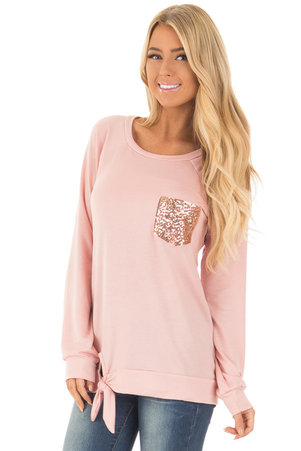 Dusty Pink Long Sleeve Top with Sequin Pocket front close up