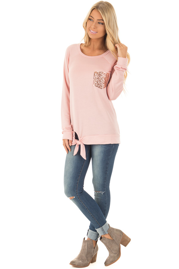 Dusty Pink Long Sleeve Top with Sequin Pocket front full body