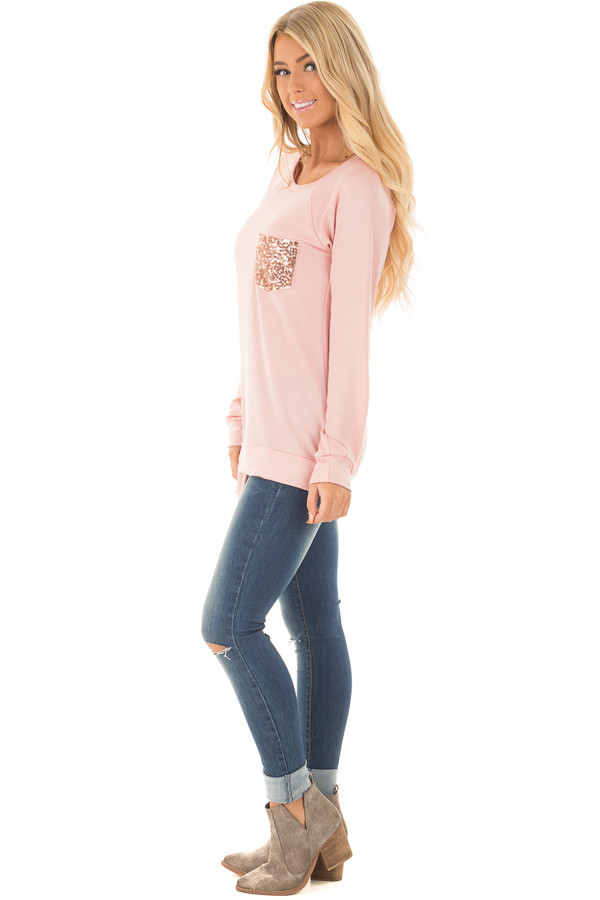 Dusty Pink Long Sleeve Top with Sequin Pocket side full body