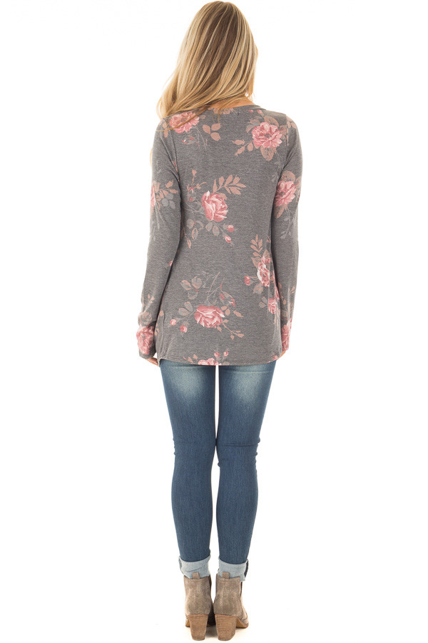 Charcoal and Blush Floral Print Long Sleeve Top with Front Tie back full body