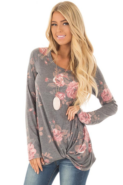 Charcoal and Blush Floral Print Long Sleeve Top with Front Tie front close up
