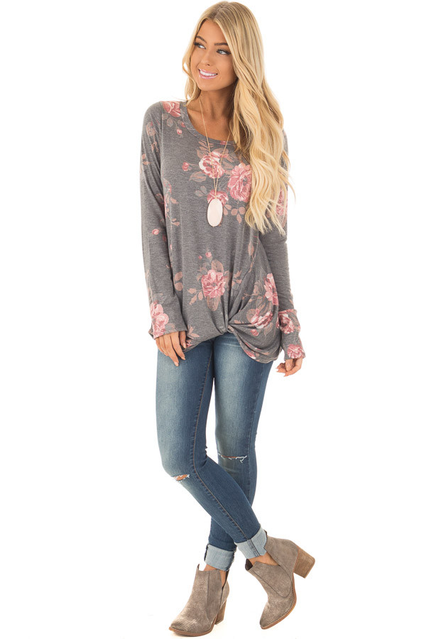 Charcoal and Blush Floral Print Long Sleeve Top with Front Tie front full body