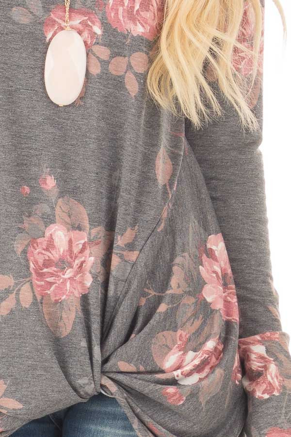 Charcoal and Blush Floral Print Long Sleeve Top with Front Tie detail