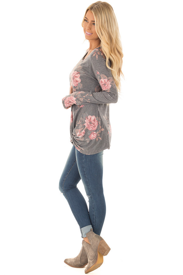 Charcoal and Blush Floral Print Long Sleeve Top with Front Tie side full body