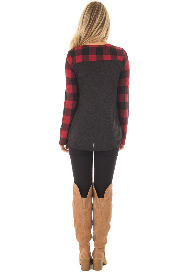 Charcoal Long Sleeve Top with Burgundy Plaid Contrast back full body