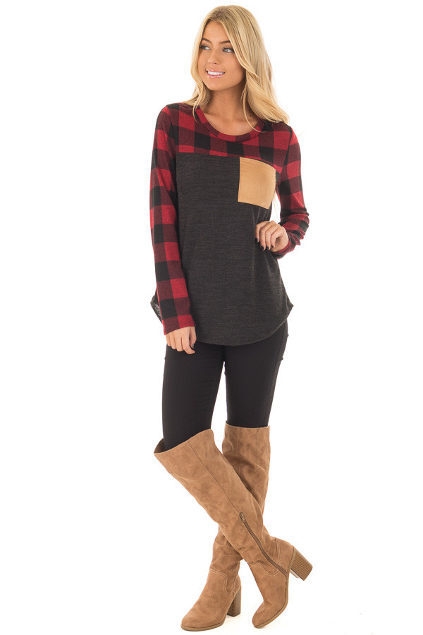 Charcoal Long Sleeve Top with Burgundy Plaid Contrast front full body