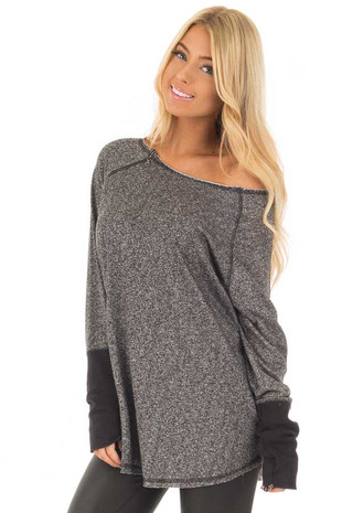 Black Two Tone Round Neck Top with Zipper Detail front closeup