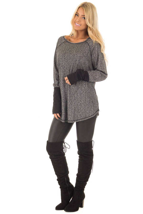 Black Two Tone Round Neck Top with Zipper Detail front full body