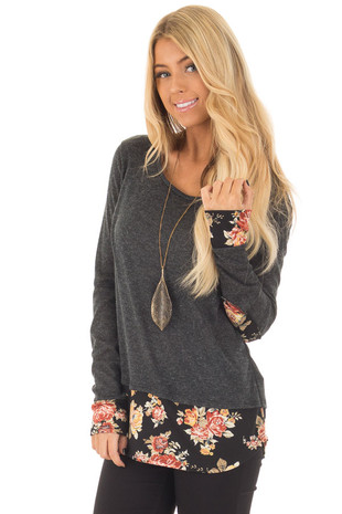 Charcoal Long Sleeve Top with Floral Hem and Elbow Patches front closeup
