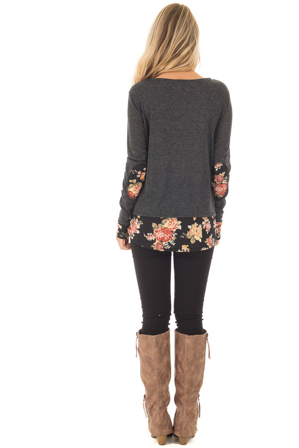 Charcoal Long Sleeve Top with Floral Hem and Elbow Patches back full body