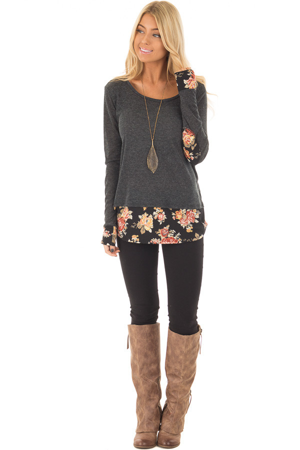 Charcoal Long Sleeve Top with Floral Hem and Elbow Patches front full body