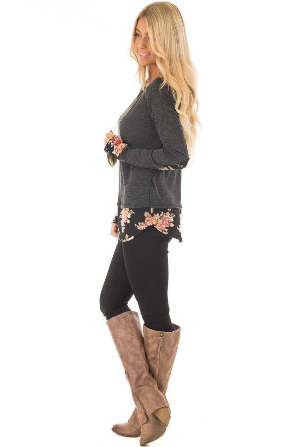 Charcoal Long Sleeve Top with Floral Hem and Elbow Patches side full body