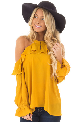 Mari Gold Long Sleeve Cold Shoulders with Ruffle Details front closeup