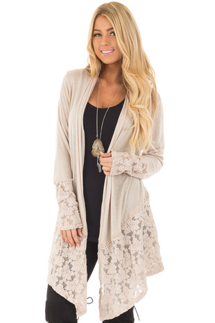 Taupe Long Sleeve Cardigan with Sheer Lace Details front closeup