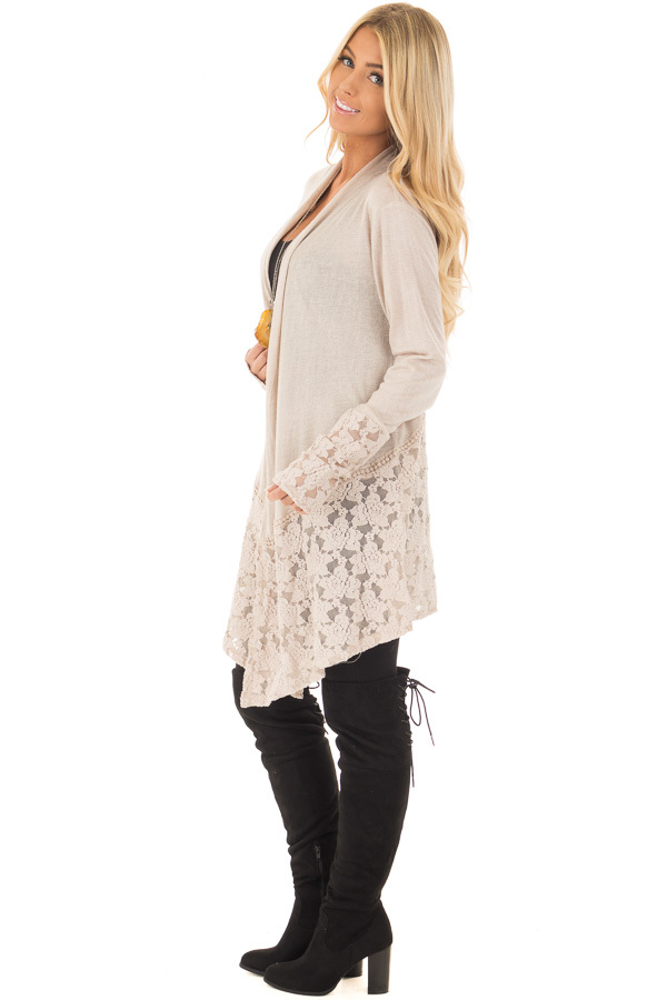 Taupe Long Sleeve Cardigan with Sheer Lace Details - Lime Lush ...