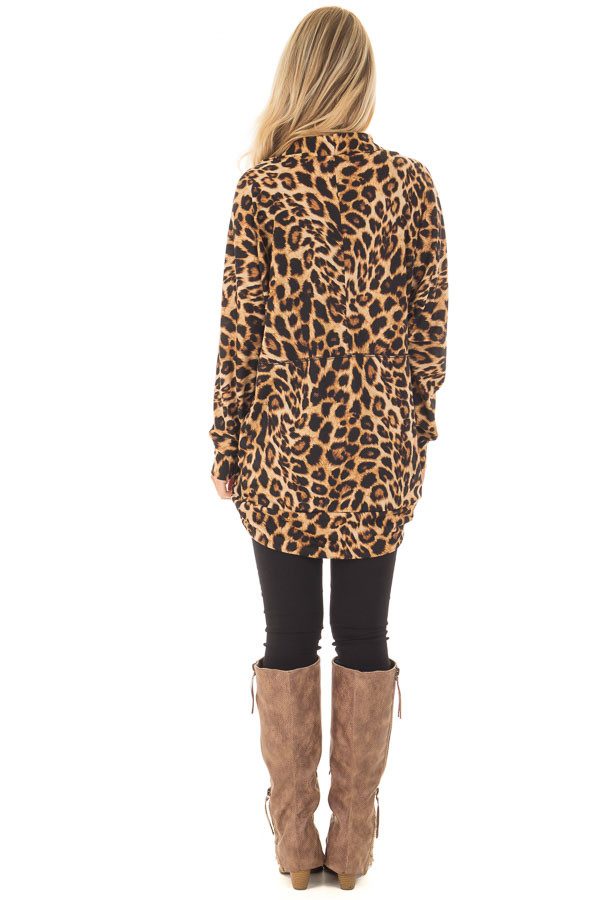 Leopard Print Open Cardigan with Rounded Hem back full body