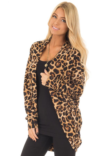 Leopard Print Open Cardigan with Rounded Hem front closeup