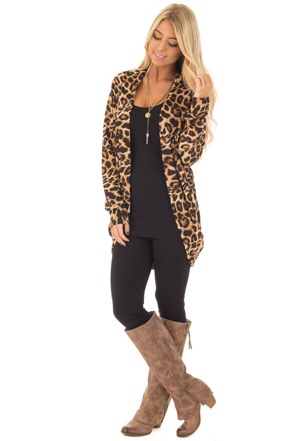 Leopard Print Open Cardigan with Rounded Hem front full body