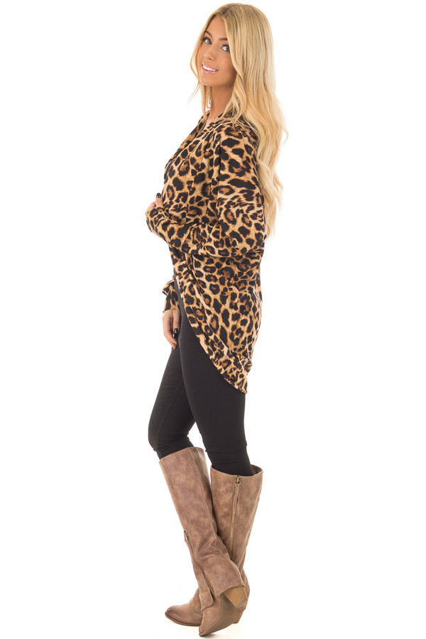 Leopard Print Open Cardigan with Rounded Hem side full body