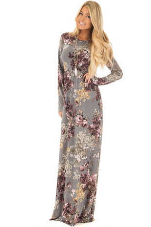Silver Floral Print Slinky Maxi Dress with Pockets front full body