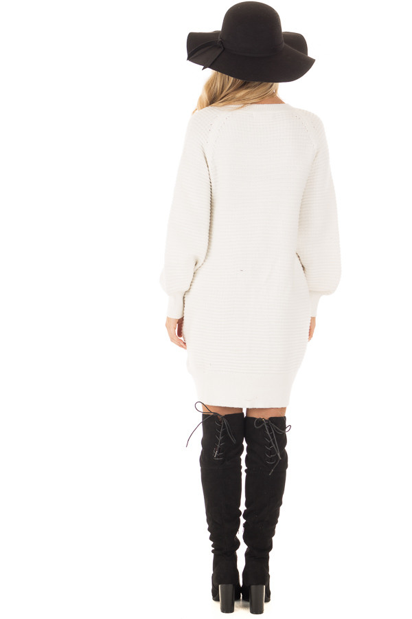Ivory Sweater Dress with Lace Up Details back full body