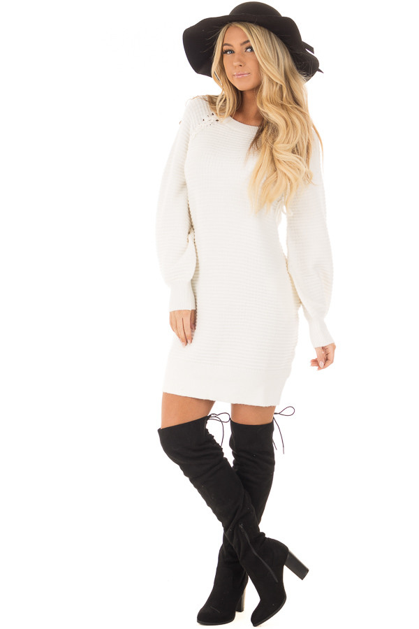 Ivory Sweater Dress with Lace Up Details front full body