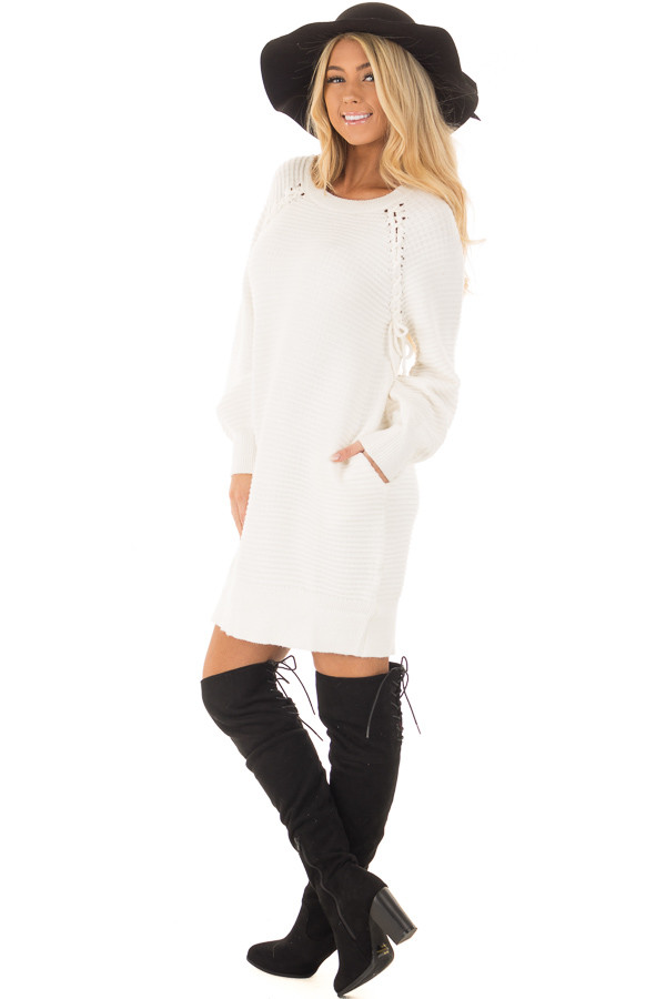 Ivory Sweater Dress with Lace Up Details side full body