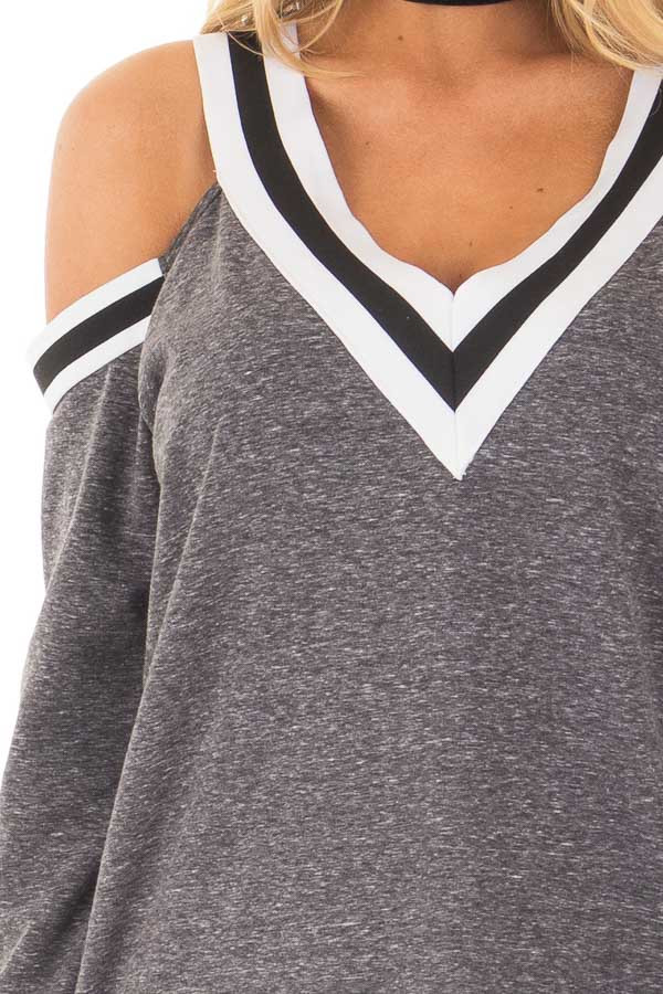 Charcoal Cold Shoulder Tee with Varsity Stripe Details front detail