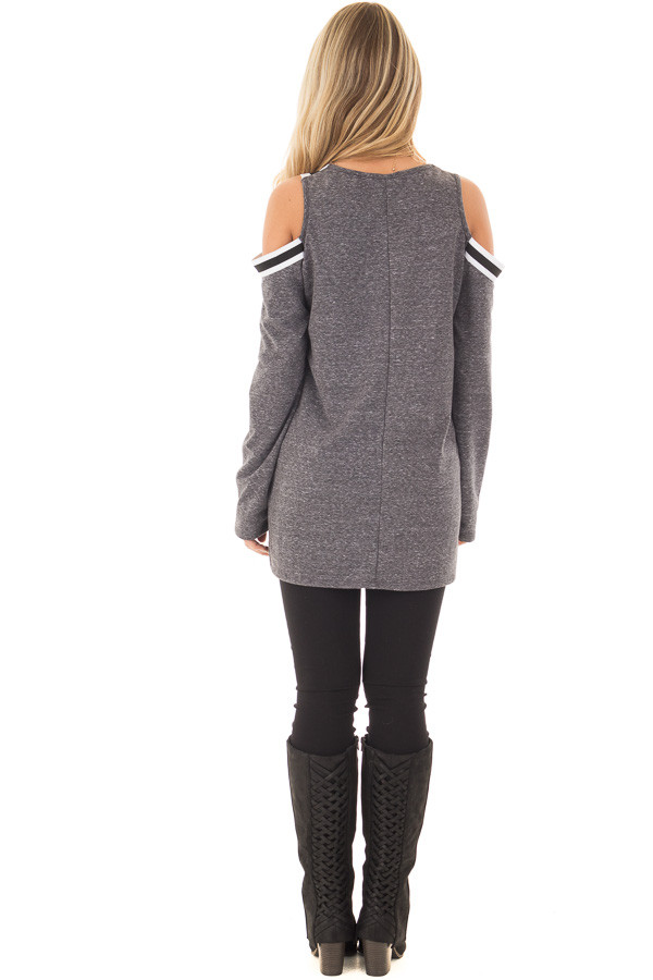 Charcoal Cold Shoulder Tee with Varsity Stripe Details back full body
