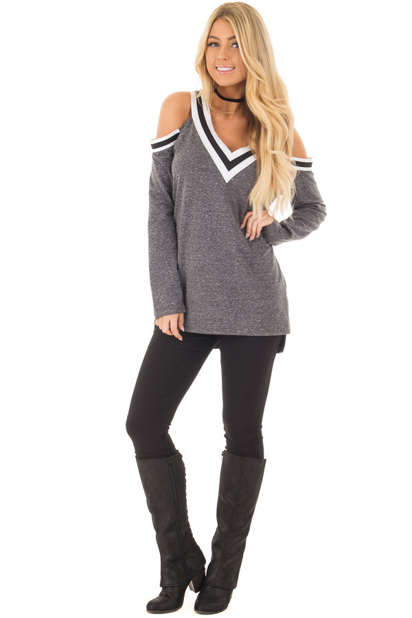Charcoal Cold Shoulder Tee with Varsity Stripe Details front full body