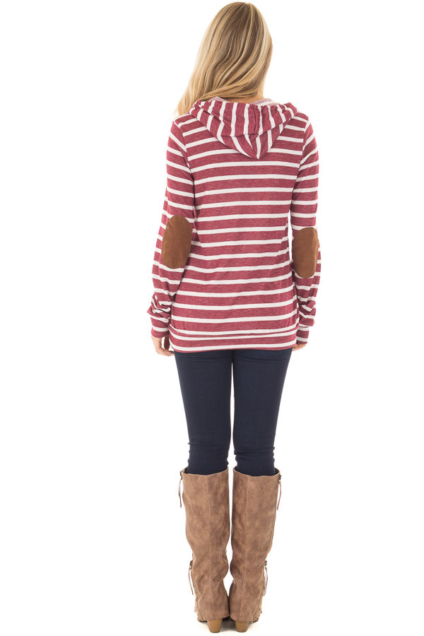Burgundy Striped Hoodie with Faux Suede Elbow Patches back full body