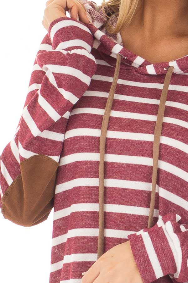 Burgundy Striped Hoodie with Faux Suede Elbow Patches front detail