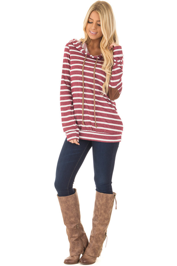 Burgundy Striped Hoodie with Faux Suede Elbow Patches front full body