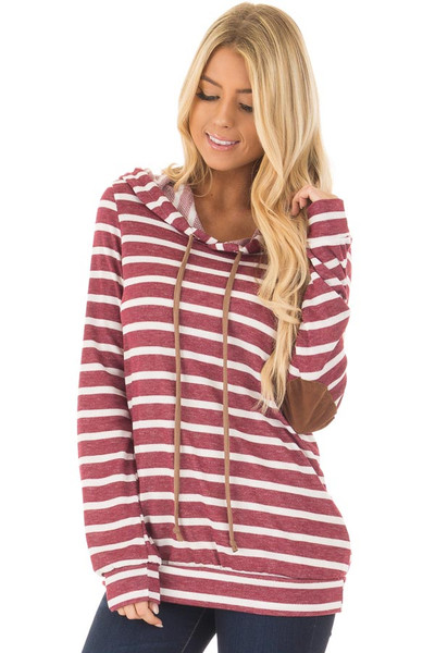 Burgundy Striped Hoodie with Faux Suede Elbow Patches front closeup