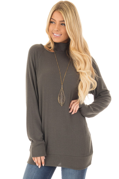 Dark Olive Sweater with Cut Out Neckline front closeup