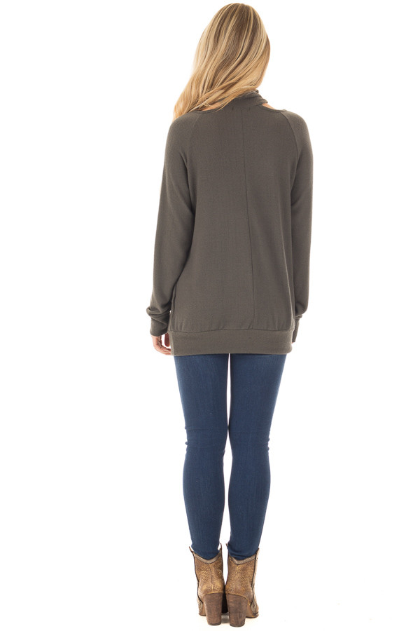 Dark Olive Sweater with Cut Out Neckline back full body