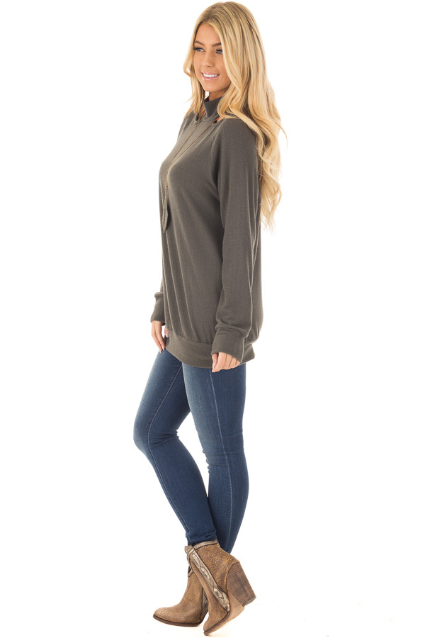 Dark Olive Sweater with Cut Out Neckline side full body