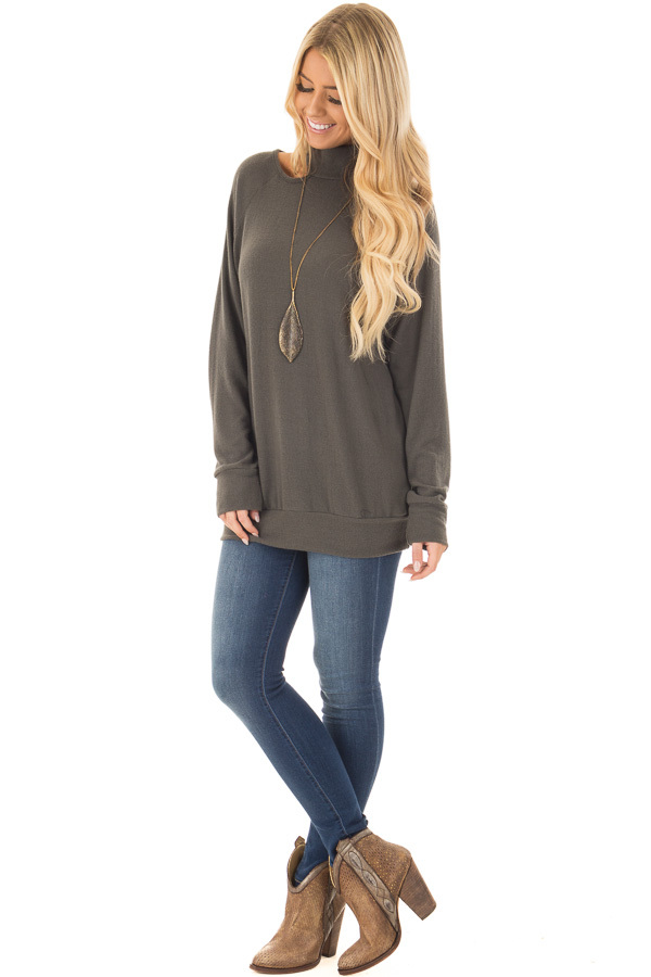 Dark Olive Sweater with Cut Out Neckline front full body