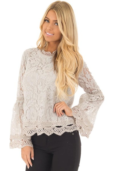 Grey Long Bell Sleeve Sheer Crochet Top front close up