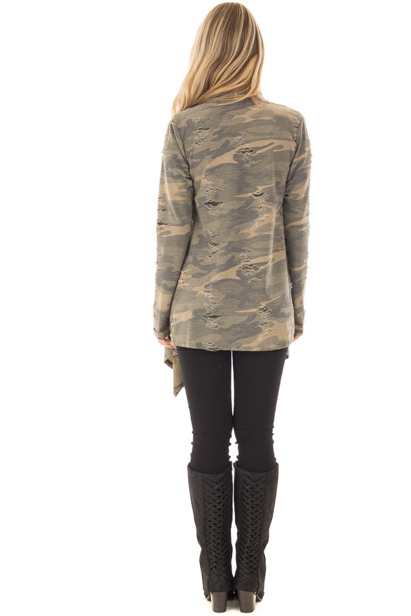 Camouflage Cardigan with Distressed Details back full body