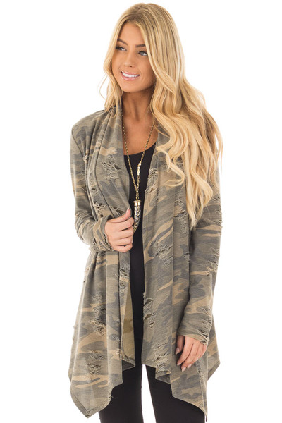 Camouflage Cardigan with Distressed Details front closeup