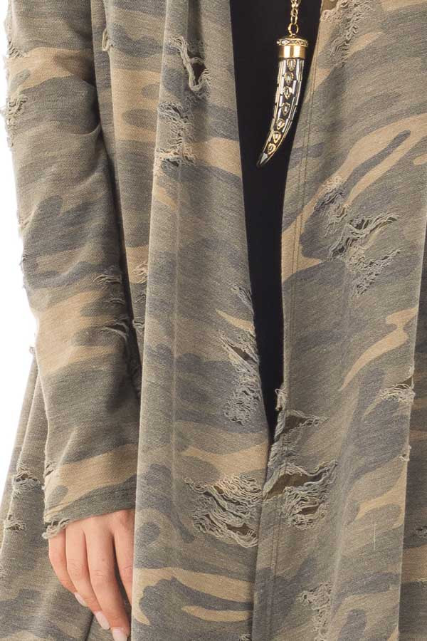Camouflage Cardigan with Distressed Details front detail