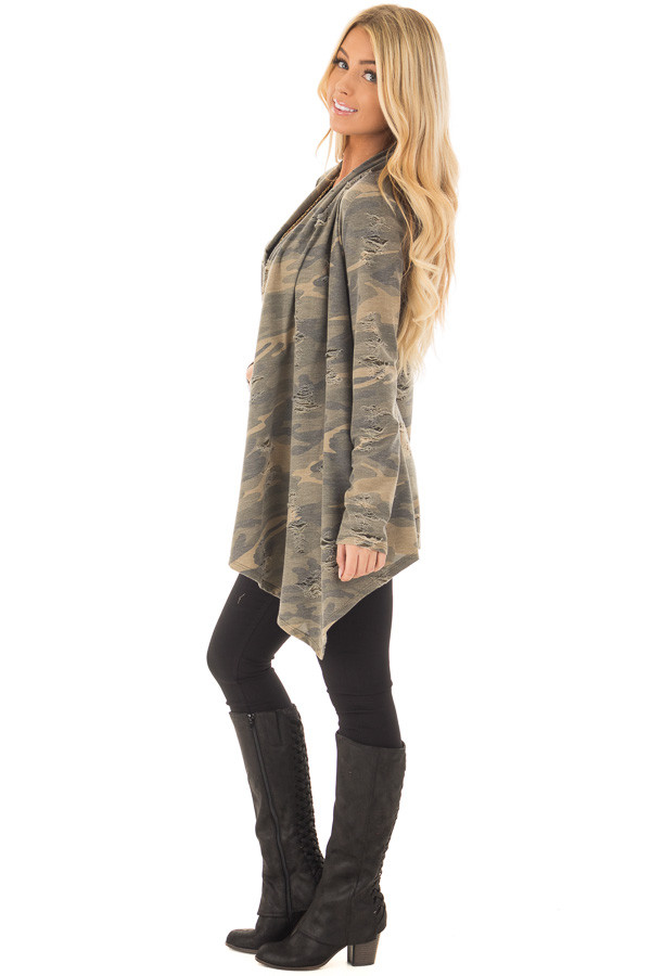 Camouflage Cardigan with Distressed Details side full body