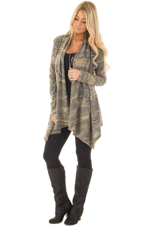 Camouflage Cardigan with Distressed Details front full body