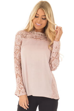 Mauve Long Sleeve Top with Sheer Crochet Details front close up