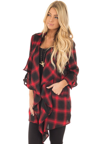 Red and Black Plaid Cardigan with Back Lace Detail front close up